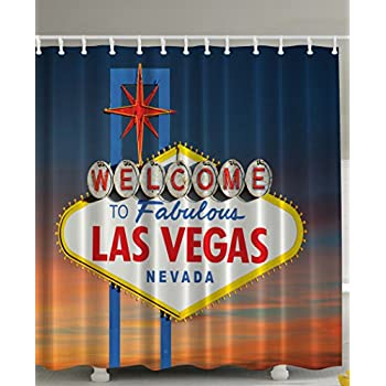 Ambesonne Welcome To Fabulous Las Vegas Nevada Sign Picture Traveler Urban Road Decor Design Art Print Fabric Shower Curtain