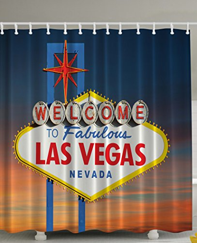 Urban Traveler (Welcome to Fabulous Las Vegas Nevada Sign Picture Traveler Urban Road Decor Design Art Print Fabric Shower Curtain - Machine Washable Navy Blue Red Yellow Orange White)