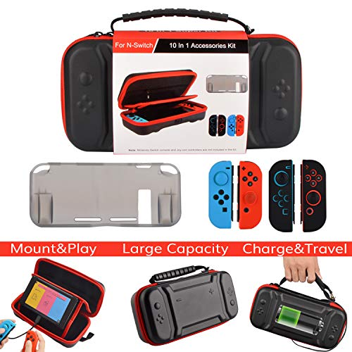 Accessories Kit for Nintendo Switch,Original Charge-Inside Mount Case TPU Cover Silicone Joy Con Gel Guards and Thumb Grip Caps Accessories Case for Nintendo Switch (10 in 1)