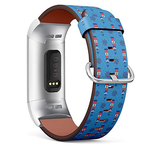 - Compatible with Fitbit Charge 3 / Charge 3 SE - Leather Watch Wrist Band Strap Bracelet with Stainless Steel Clasp and Adapters (Kids Lighthouse Shipwheel Playful)