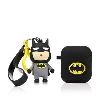 LEWOTE Airpods Carcasa de Silicona Compatible con Airpods de Apple 1 y 2 [Diseño de Dibujos][Niñas o Parejas] (Batman)