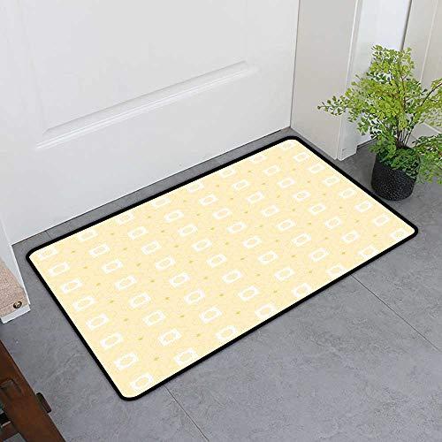 Custom&blanket Entrance Door Mat, Quatrefoil Indoor Out-Imdoor Rugs for Kitchen, Arabic Lattice Pattern Girih Tiles of Antique Eastern Artwork Design (Mustard Yellow White, H20 x W32) ()