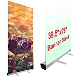 Yescom Aluminum Trade Show Retractable Roll Up Portable Banner Stand with Carry Bag, 39.5 x 79-Inch, Metalic