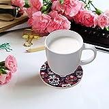 visesunny Sugar Skull Red Rose Print Drink Coaster