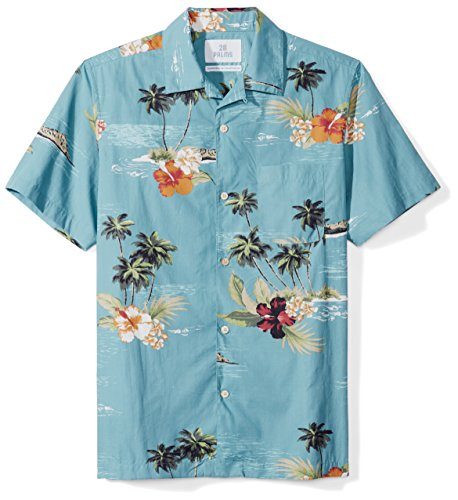(28 Palms Men's Standard-Fit 100% Cotton Tropical Hawaiian Shirt, Dark Aqua Scenic, Large)