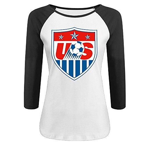 YI Own Women's Funny US Soccer Team Logo 3/4 Sleeve Baseball T-Shirt Black