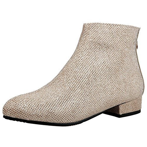 Reißverschluss Ankle mit Elegante Stiefel COOLCEPT hinten Kleid Low Damen Heel PIZ8F