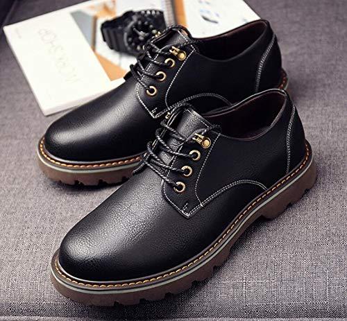 Antideslizante Martin LQV para Resistente Desgaste Casual Botas de Correa al Moda de Hombres Herramientas Cuero de de Black Goma Zapatos Suelas la Cabeza para Redonda ZqrxRZ