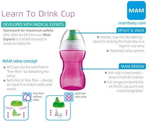 6m+ MAMLEARN TO DRINK CUP 190ML// BLUE 1x Baby/´s Bottle with Smooth Spout Surface