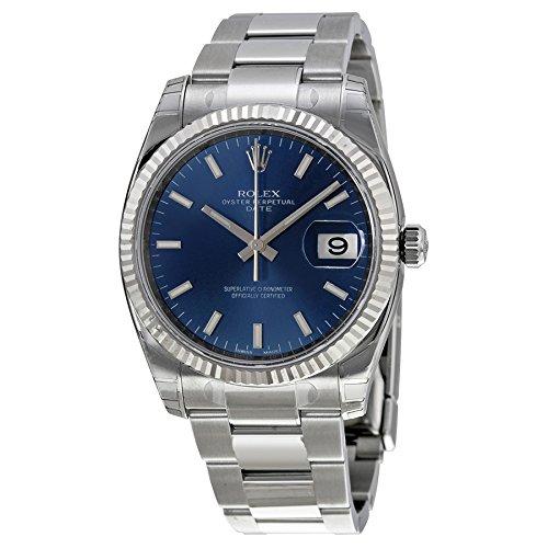 Rolex Oyster Perpetual Fecha Azul Dial Estriado 18 kt Blanco Oro Bisel 115234blso