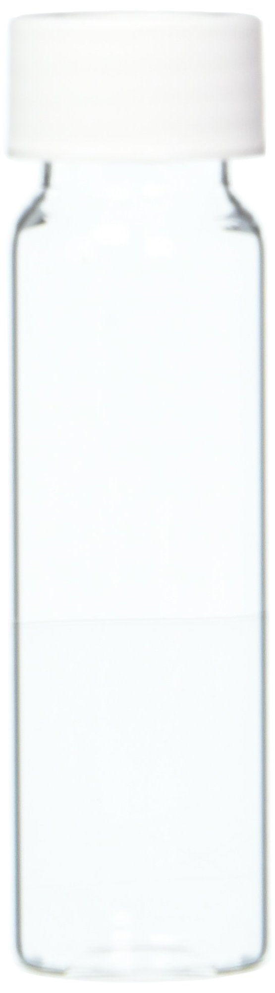 JG Finneran 9-102-2 Clear Borosilicate Glass Precleaned VOA Vial with White Polypropylene Open Top Closure and 0.125'' PTFE/Silicone Septa, 24-414mm Cap Size, 40mL Capacity (Pack of 72)
