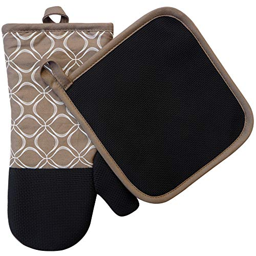 Tan Mitt Oven - EnjoyLife Inc Shaped Oven Mitts Pot Holders Set of 2 Kitchen Set Cotton Neoprene Silicone Non-Slip Grip, Heat Resistant, Oven Gloves BBQ Cooking Baking, Grilling, Machine Washable (Tan Neoprene)