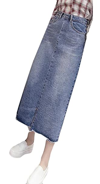 23767c352b3 WSPLYSPJY Women s Maxi Pencil Jean Skirt High Waist A-Line Long Denim Skirts  at Amazon Women s Clothing store