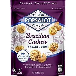 Popsalot Gourmet Popcorn Brazilian Cashew Caramel Corn, 6-Ounce Pouch (Pack of 3)