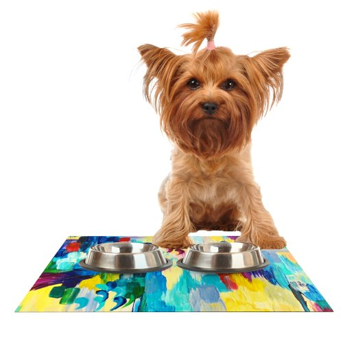 KESS InHouse Ebi Emporium Don't Quote Me  Feeding Mat for Pet Bowl, 24 by 15-Inch
