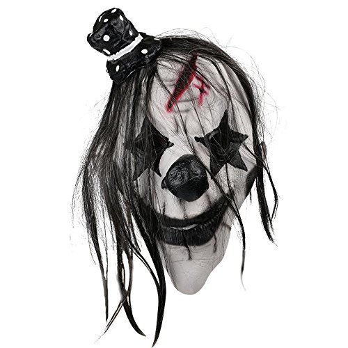 Aolvo Scary Clown Mask, Latex Black and White Clown Face Mask, Horror Mad Clown Mask, Halloween Costume Party Props Head Masks for Cosplay, Masquerade Party