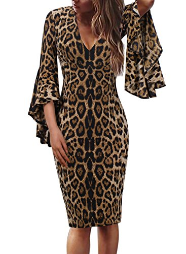 Leopard Print Party Dress - VFSHOW Womens Sexy V Neck Leopard Print Bell Sleeve Cocktail Sheath Dress 1591 Leo M