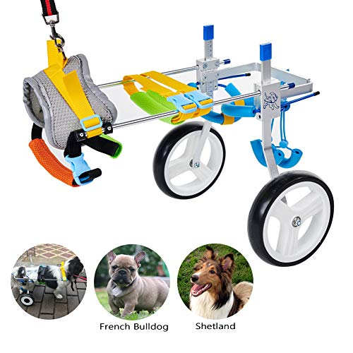 HiHydro Cart Pet Wheelchair for Handicapped Hind Legs Small Dog Cat/Doggie/Puppy Walk Stainless Steel S