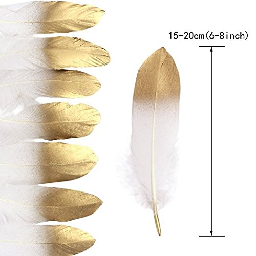 Shindel Gold Dipped Feathers, Natural Feathers Natural Pure White Gold Dipped Feathers for Craft Table Centerpiece Cupcake Decor Baby Shower Decorations, 60 PCS