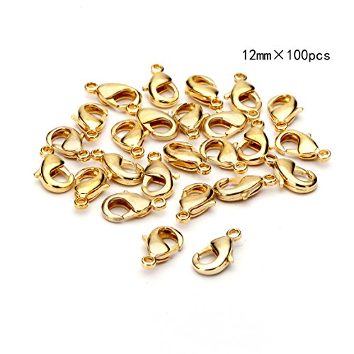 BRCbeads Lobster Clasp Gold Plated Jewelry Lobster Claw Clasp Findings 12mm 100pcs for Jewelery Making