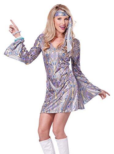 California Costumes Women's Adult Disco Sensation Costume and Wig, Purple, X-Small (Womens Disco Sensation Dress)