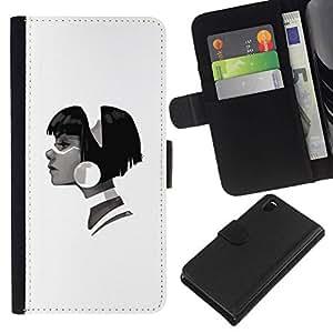 All Phone Most Case / Oferta Especial Cáscara Funda de cuero Monedero Cubierta de proteccion Caso / Wallet Case for Sony Xperia Z3 D6603 // Profile Portrait Girl Big Earring Fashion Art