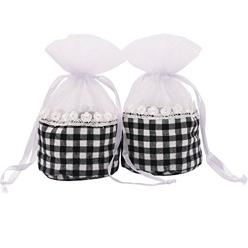 SumDirect Sachet Empty Bags, Lace Cotton Pouches, Organza Gauze Bags with Round Bottom,3x6 (Lace Sachet)