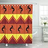 Emvency 72''x72'' Mildew Resistant Hook Set Shower Curtain Brown Kokopelli Southwestern Design in Warm Colors Orange Southwest Tribal Clip Decorative Waterproof Curtains Bathroom Eco-Friendly