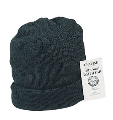 Navy Wool Watch Cap - Rothco Genuine U.S.N Wool Watch Cap, Black