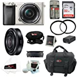 Sony Alpha A6000 Mirrorless Digital Camera with 16-50mm Lens (Silver) + Sony SEL-20F28 E-Mount 20mm F2.8 Prime Lens + 32GB Memory Card + All in One High Speed Card Reader + Deluxe Accessory Kit