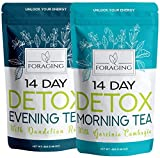 Foraging Detox Tea – 14 Morning and Night Teatox – (28 Tea Bags) with Garcinia Cambogia & Dandelion Root for Weight Loss and Relaxing For Sale