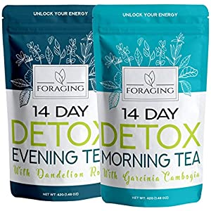 Foraging Detox Tea – 14 Day and Night Teatox – (28 Tea Bags) With Garcinia Cambogia & Dandelion Root For Weight Loss And Relaxing