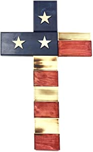 """18"""" American Wooden Cross - Handmade by USA Veterans 