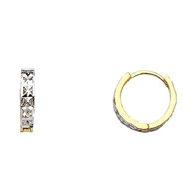 9b5be741a50a5 Amazon.com: Small Huggie Hoop Earrings Solid 14k Yellow Gold Huggies ...