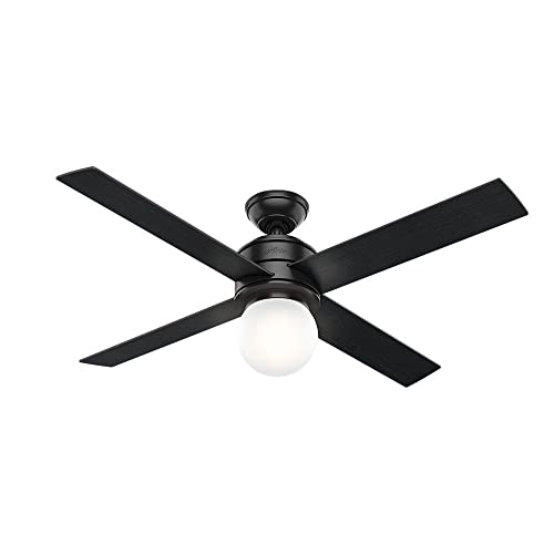 Hunter Indoor Ceiling Fan with LED Light and wall control – Hepburn 52 inch, Black, 59321
