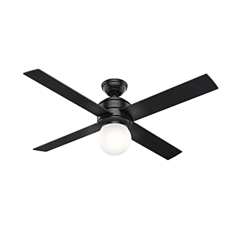 Hunter 59321 Hepburn Ceiling Fan Hunter Light with Wall Control, 52 , Matte Black