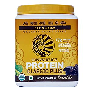 Sunwarrior – Classic Plus 375 g, Chocolate, Gluten Free, Vegan, Plant-based, Protein Powder with Pea and Brown Rice