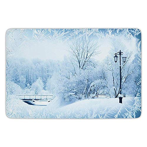 Winter Wonderland Flannels - K0k2t0 Bathroom Bath Rug Kitchen Floor Mat Carpet,Winter,Winter Trees in Wonderland Theme Christmas Year Scenery Freezing ICY Weather Decorative,Flannel Microfiber Non-Slip Soft Absorbent