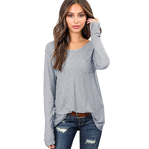 Xander Women Solid Loose Fit Long Sleeve Pocket Blouse Crew Neck Casual Long T-Shirt Tops (XXL, Gray)