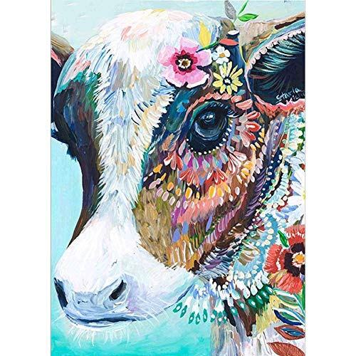 DIY 5D Diamond Painting by Number Kits, Crystal Rhinestone Diamond Embroidery Paintings Pictures Arts Craft for Home Wall Decor, Full Drill, Colorful Cow from WYQN