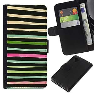 KLONGSHOP // Tirón de la caja Cartera de cuero con ranuras para tarjetas - Acuarela abstracta Verde Negro - LG Nexus 5 D820 D821 //