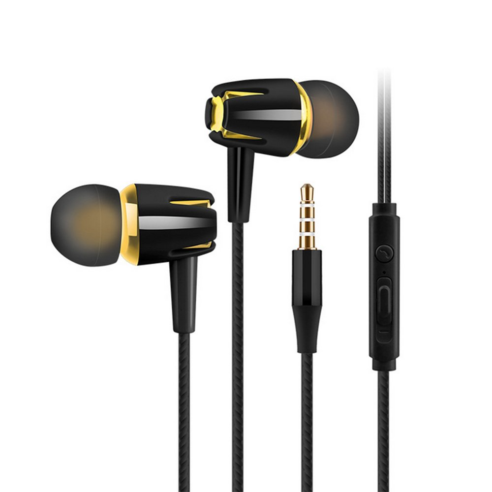 2Pack In-Ear Earphones, Stereo Sound Headphones Wired Earphones with Mic and Volume Controls Compatible with All Smartphone Audio Media Devices (black gold) by JCBABA