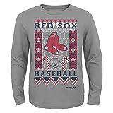 MLB Boston Red Sox Youth Boys Light the Tree Short Sleeve Tee, Small (8), Grey