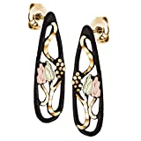 Landstroms Black Powder Coat Post Earrings with Black Hills 12k Gold Leaves