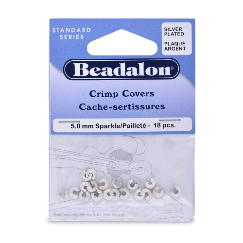 Artistic Wire Beadalon Crimp Cover 5mm Sparkle Nickel Free Silver, Plated, 18-Piece