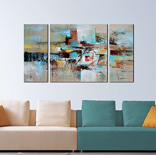 ARTLAND 100% Hand Painted Framed Modern Wall Art All About Eve 3-Piece Abstract Oil Painting on Canvas Ready to Hang Living Room Wall Decor Home Decoration 20x40inches
