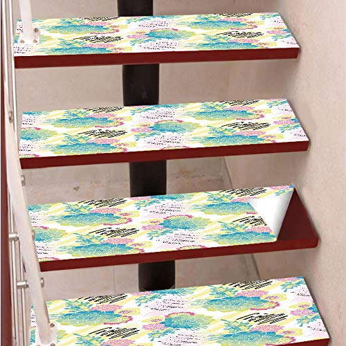 (3D Print Non-Slip PVC Stair Pads,Self-Adhesive Steps Sticker,Staircase Treads Protector,Floral Corsage Pattern with Brushstrokes Colorful Flourish Foliage Summer Field Decorative,for Home)