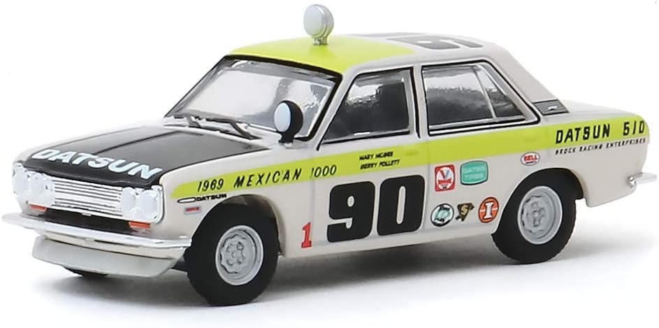 1969 Datsun 510 4-Door Sedan #901969 Mexican 1000Datsun Rallys to The Cause Vintage Ad Cars 1//64 Diecast Model Car by Greenlight 39020 B