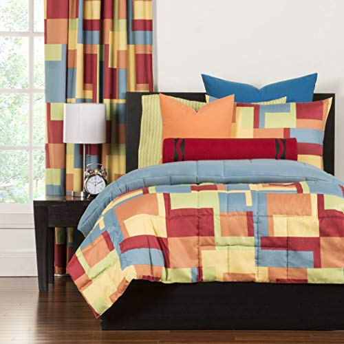 LO 2 Piece Multi Color Paint Box Graphic Printed Comforter Set Twin, Blue Green Orange Red Yellow Color Block Geometric Shapes Adult Bedding Master Bedroom Colorful Contemporary Modern, Polyester