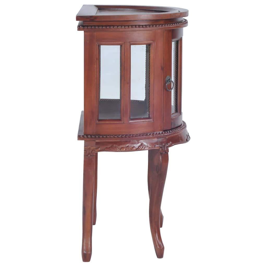 Festnight` Vitrine 50x35x76 cm Solid Mahogany Wood Semi-Cylindrical